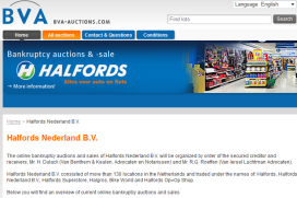 Inventory of Bankrupt Halfords NL Auctioned