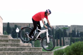 Pro BMX rider Daniel Dhers rides the smart e-bike