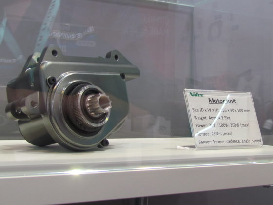 'Invisible' Nidec mid-motor for integration in down-tube. Compact motors are said to be next e-bike trend.