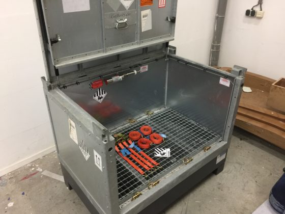 Purchase special battery storage container with integrated certified lithium extinguishing system.